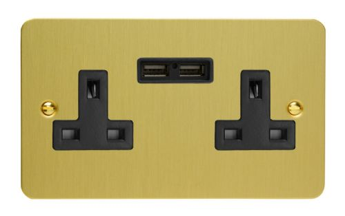 Varilight XFB5U2B Ultraflat Brushed Brass 2 Gang Double 13A Unswitched Plug Socket 2.1A USB